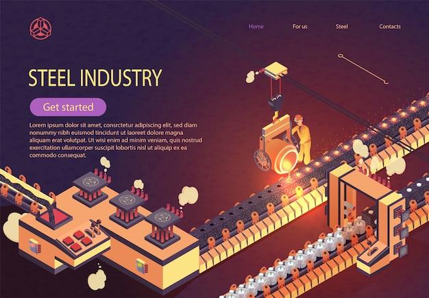 Stahlindustrie-fahne mit eisen-schmelzförderer Premium Vektoren