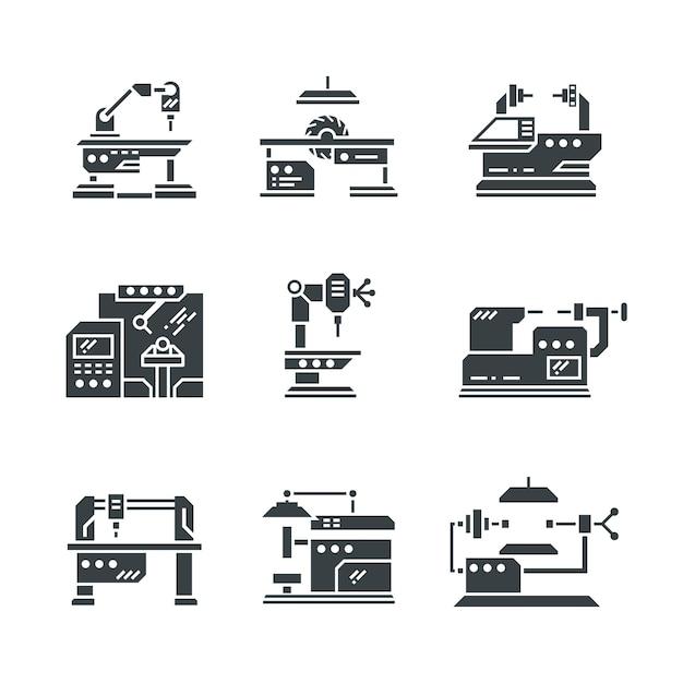 Stahlindustrie werkzeugmaschinen symbole Premium Vektoren
