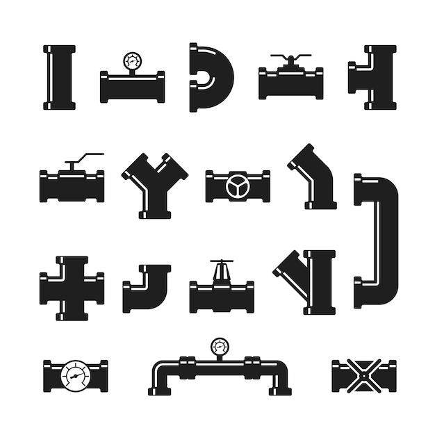 Stahlrohrverbinder, armaturen, ventile, industrielle rohrleitungen für wasser- und gasleitungen Premium Vektoren