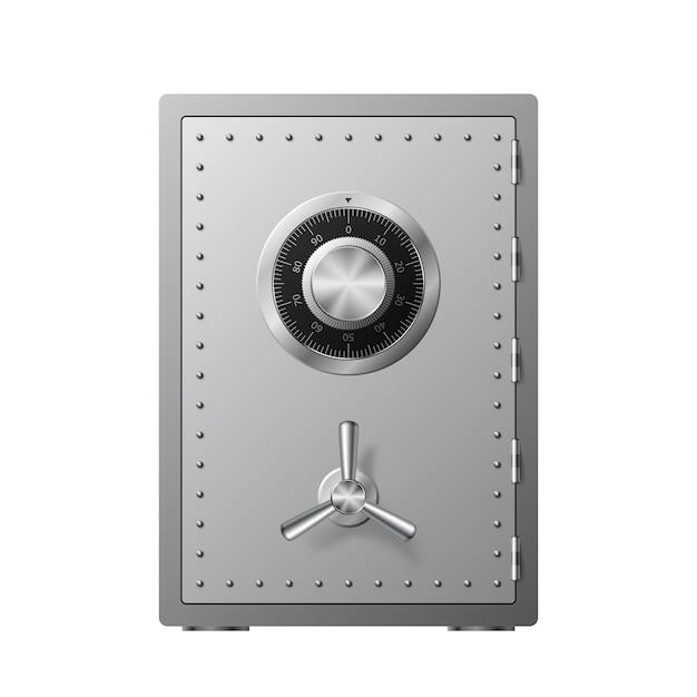 Stahltresor mit zahlenschloss auf weißem hintergrund. gepanzerte box. zuverlässiger datenschutz. schutz personenbezogener daten. illustration Premium Vektoren