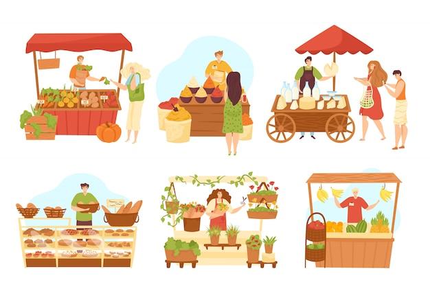 Stall market shops set von verkäufern an theke und essen, illustrationen. marktverkäufer an kiosken mit gemüse, brot, gewürzen, fleisch und milchprodukten stehen. lebensmittelgeschäfte. Premium Vektoren