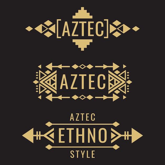 Stammes-aztekische mexikanische ornamente Premium Vektoren