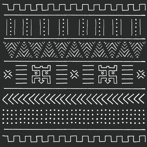Stammes- ethnisches Schwarzweiss-Muster mit geometrischen Elementen, traditioneller afrikanischer Schlammstoff, Stammes- Design Premium Vektoren