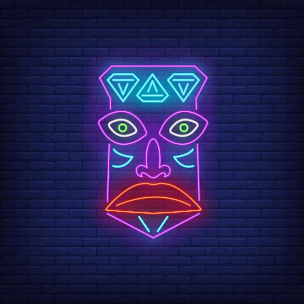 Stammes-maske leuchtreklame Kostenlosen Vektoren