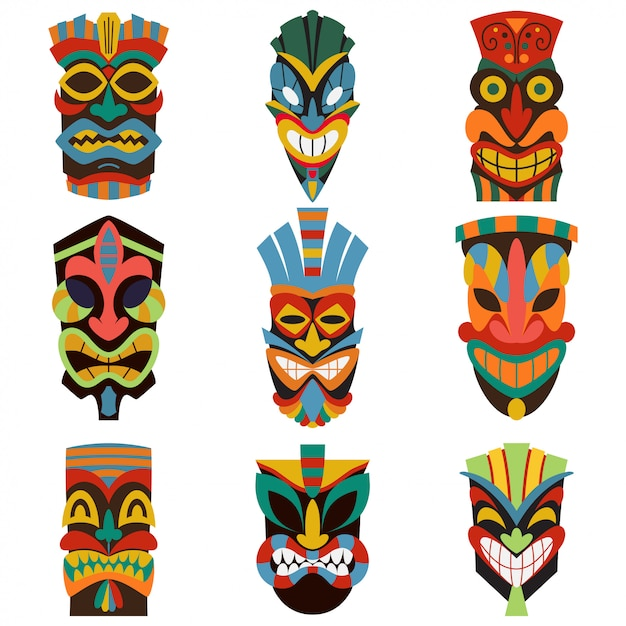 Stammes- tiki maskenvektorsatz lokalisiert auf weißem hintergrund. Premium Vektoren