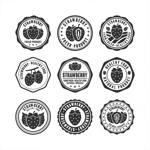 Stamp strawberry gesunde lebensmittel design-kollektion Premium Vektoren