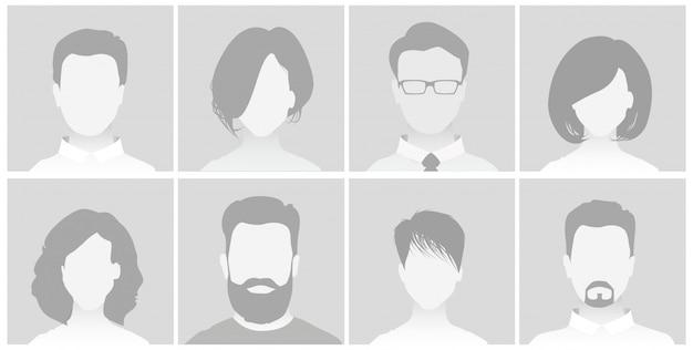 Standard-platzhalter-avatar-profil auf grauem hintergrund mann und frau Premium Vektoren