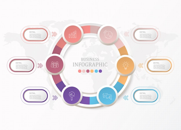 Standardkreise infographic und prozess 6 für geschäftskonzept. Premium Vektoren