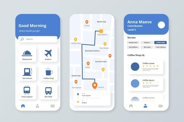 Standort-app-bildschirme eingestellt Kostenlosen Vektoren
