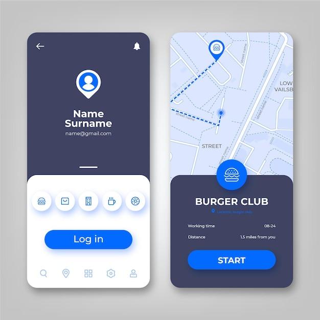 Standort-app-oberfläche Kostenlosen Vektoren