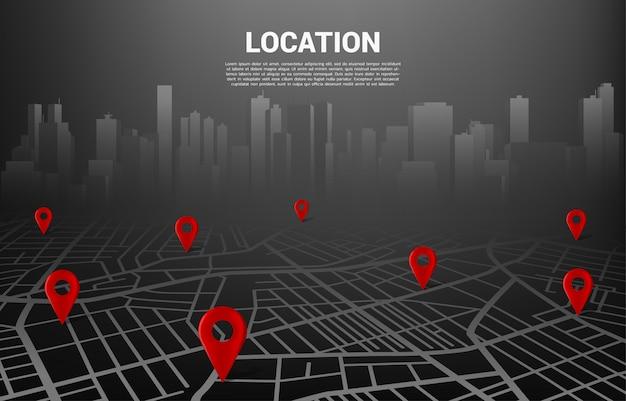 Standort-pin-markierung auf der straßenkarte der stadt. konzept für navigationssystem infografik Premium Vektoren