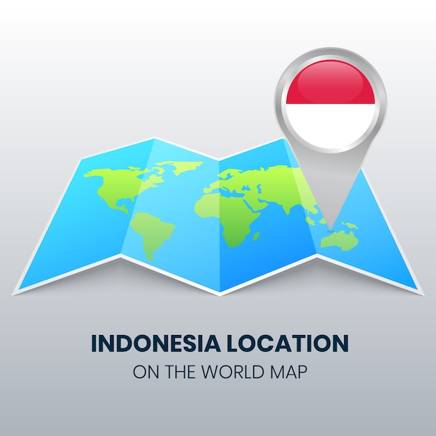 Standort-symbol von indonesien auf der weltkarte, rundes stift-symbol von indonesien Premium Vektoren