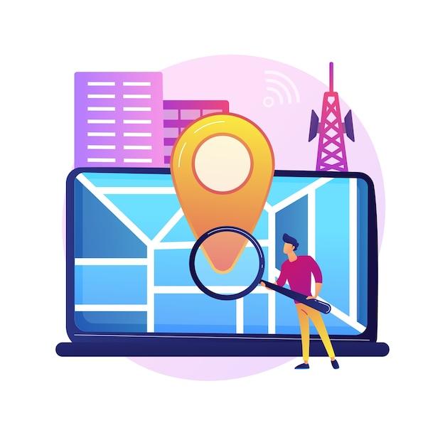 Standortbezogene werbung. geolocation-software, online-gps-app, navigationssystem. geografische einschränkung. mann, der adresse mit lupe sucht. Kostenlosen Vektoren