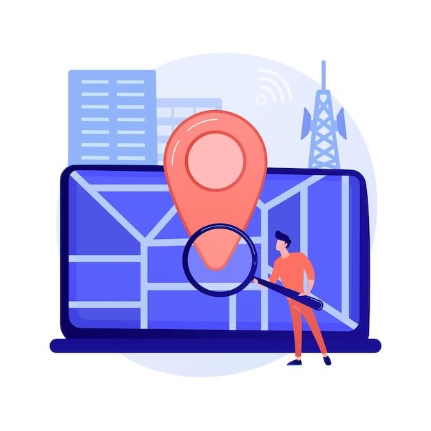 Standortbezogene werbung. geolocation-software, online-gps-app, navigationssystem. geografische einschränkung. mann, der adresse mit lupenkonzeptillustration sucht Kostenlosen Vektoren