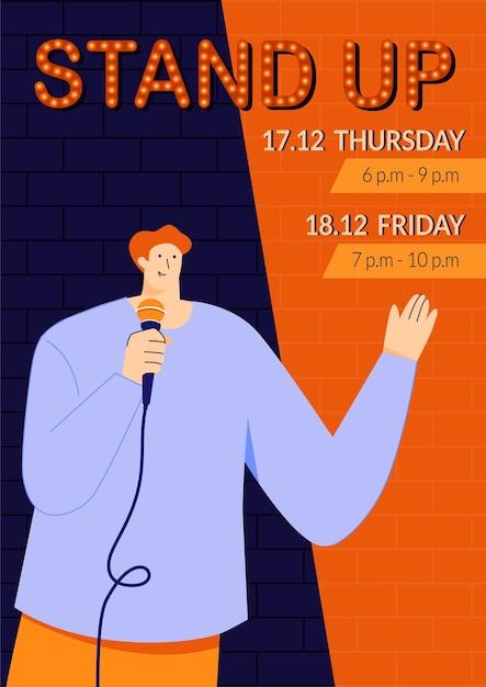 Standup show poster vorlage mit jungen männlichen standup comedian direkt mit menschen über ein mikrofon sprechen monolog von humorvollen geschichten witze und oneliners öffentliche veranstaltungen Premium Vektoren
