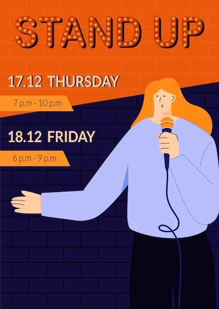 Standup show poster vorlage mit jungen weiblichen standup comedian direkt mit menschen über ein mikrofon sprechen monolog von humorvollen geschichten witze und oneliners öffentliche veranstaltungen Premium Vektoren