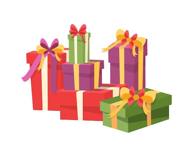 Stapel der geschenkbox lokalisiert, verpackte geschenke Premium Vektoren