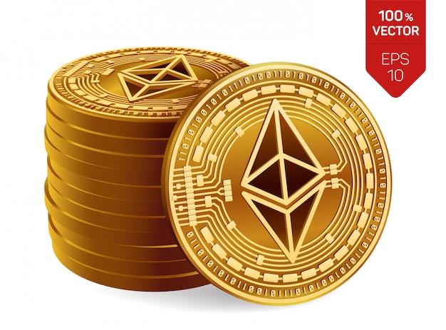 Stapel goldener münzen mit ethereum-symbol lokalisiert auf weißem hintergrund. Kostenlosen Vektoren