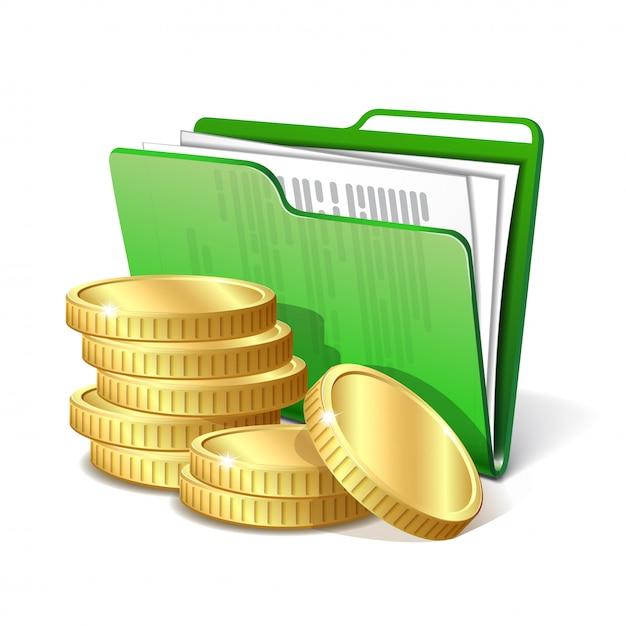 Stapel goldmünzen neben dem grünen ordner mit dokumenten, symbol für ein erfolgreiches geschäftsprojekt Premium Vektoren