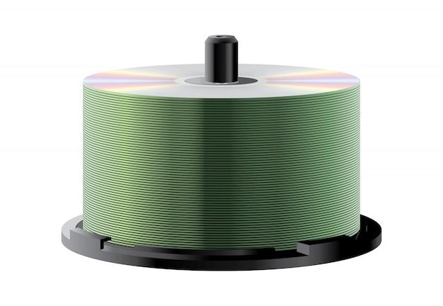 Stapel mit vielen cds auf der spindel Premium Vektoren