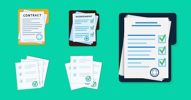 Stapel von dokumenten mit unterschrift und siegel. Premium Vektoren
