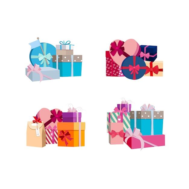Stapel von geschenkboxen und paketen gesetzt. geburtstagsgeschenk und geschenk für urlaub weihnachten Premium Vektoren
