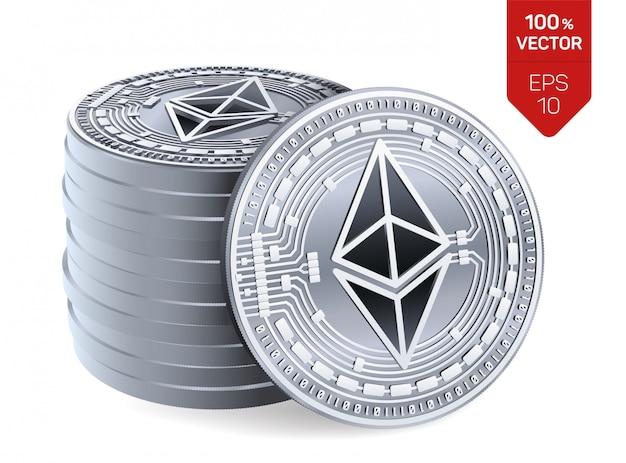 Stapel von silbermünzen mit ethereum-symbol lokalisiert auf weißem hintergrund. Kostenlosen Vektoren