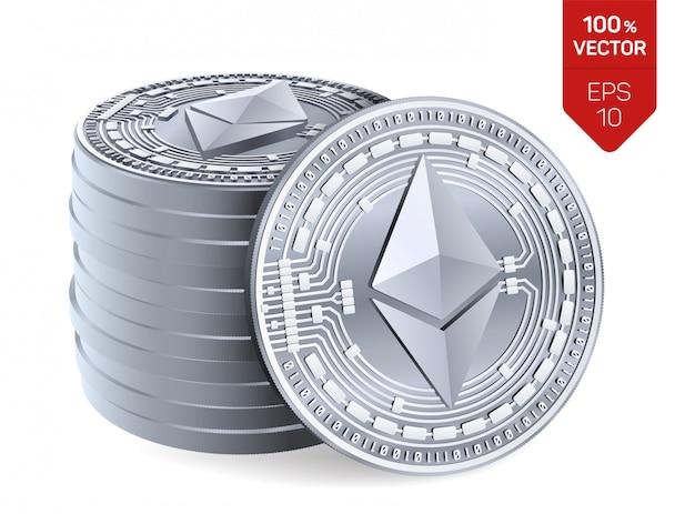 Stapel von silbermünzen mit ethereum-symbol lokalisiert auf weißem hintergrund. Premium Vektoren
