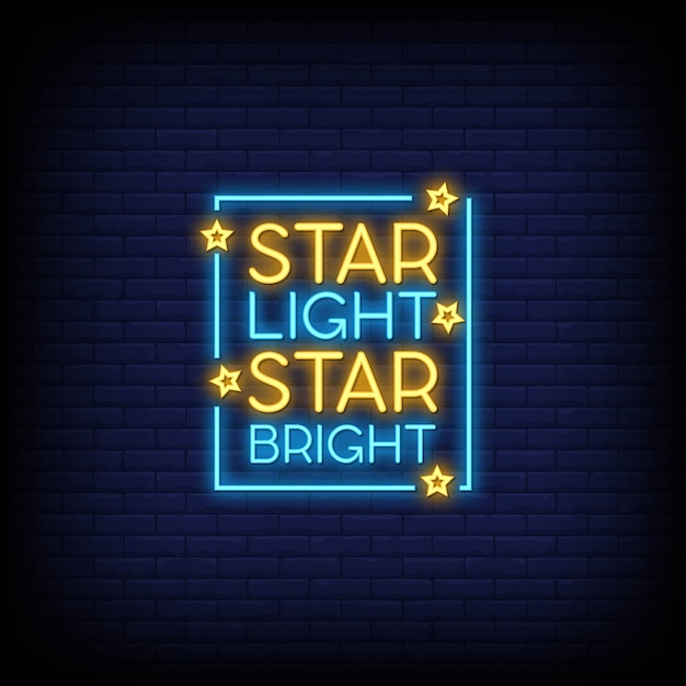 Star light star bright neon signs text Premium Vektoren