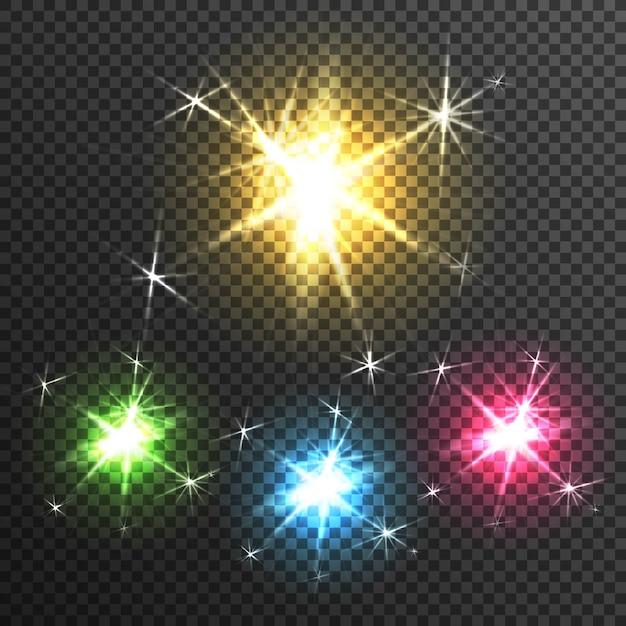 Starburst-lichteffekt-transparentes bild Kostenlosen Vektoren