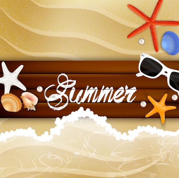 Starfish und sonnenbrille an über hölzernem hintergrund Premium Vektoren