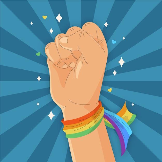 Starke faust und regenbogen armband flagge Kostenlosen Vektoren