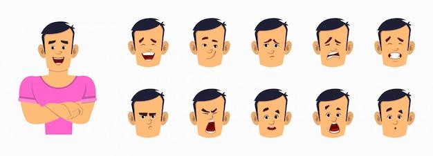 Starke jungenkarikaturfigur mit unterschiedlichem gesichtsausdrucksatz. verschiedene gesichtsgefühle für benutzerdefinierte animationen Premium Vektoren