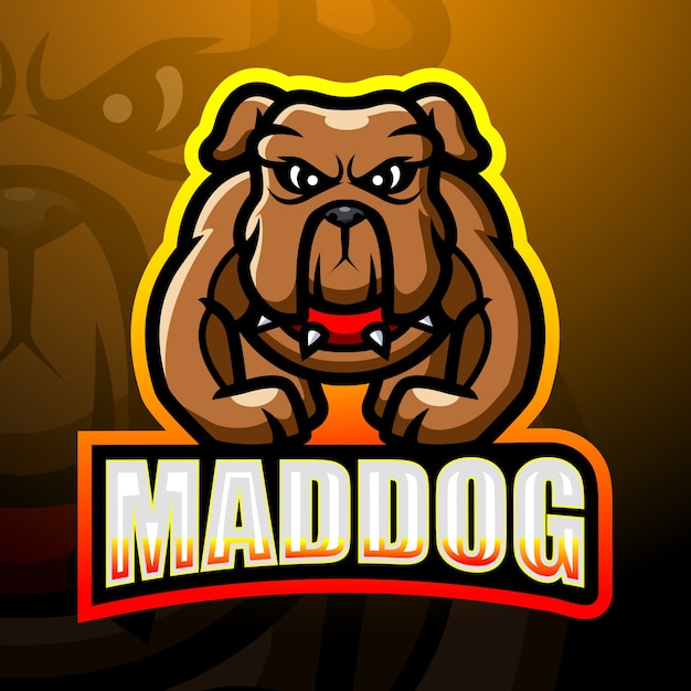 Starke mad dog maskottchen esport illustration Premium Vektoren