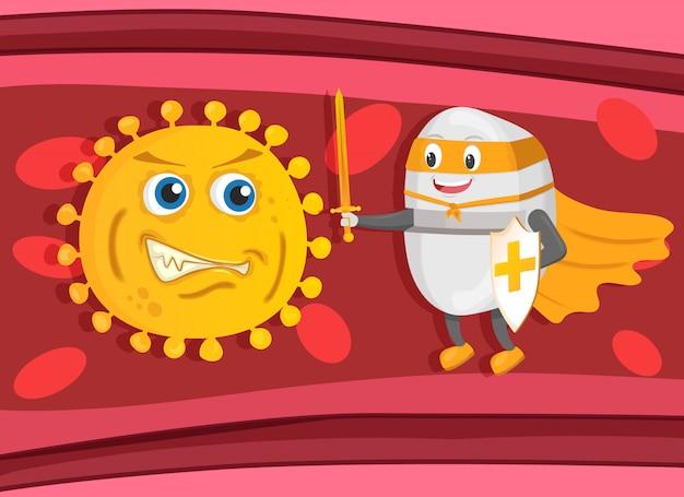Starker supethero pillenwächter mit schwert und schild bekämpft bakterien oder viren im blut Premium Vektoren