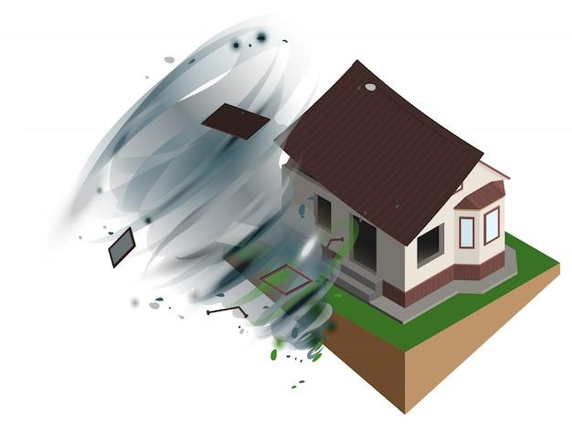 Starker windhurrikan riss dach des hauses ab. hausratsversicherung Premium Vektoren