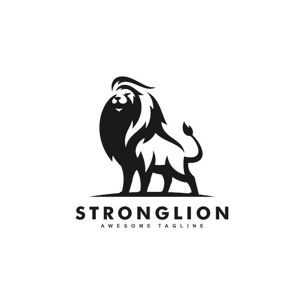 Starkes lion black color design-konzept Premium Vektoren