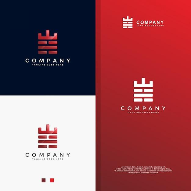 Starkes logo des roten backsteins Premium Vektoren