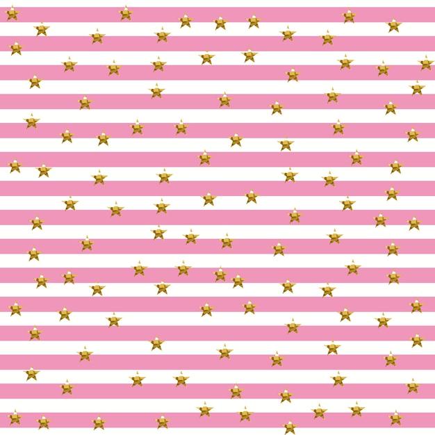 Starry striped muster in pink und gold shade Premium Vektoren