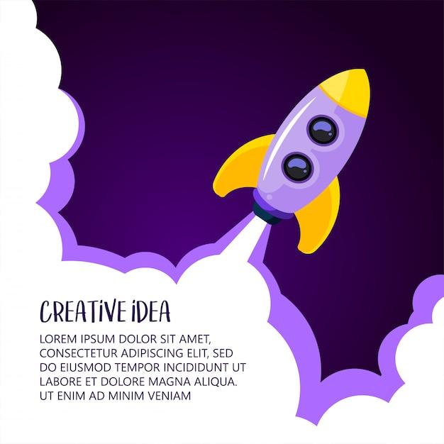 Start der weltraumrakete. kreative idee, rocket-hintergrund, vektorillustration Premium Vektoren