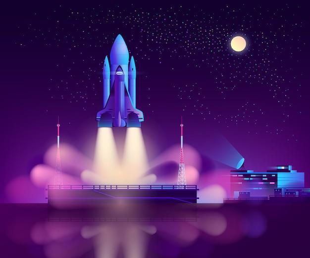 Start des space shuttles von der schwebenden plattform aus Kostenlosen Vektoren
