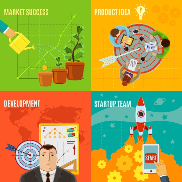 Start-design-konzept-set Kostenlosen Vektoren