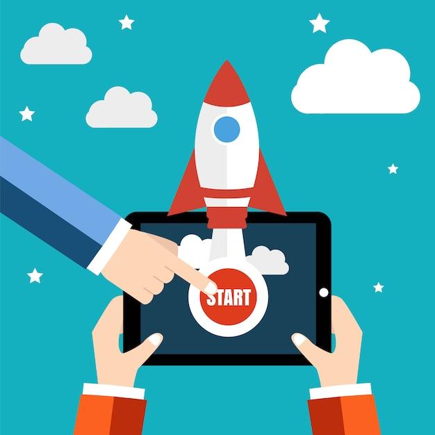 Start eines neuen geschäftsprojekts, einführung eines neuen produkts oder einer neuen dienstleistung Premium Vektoren