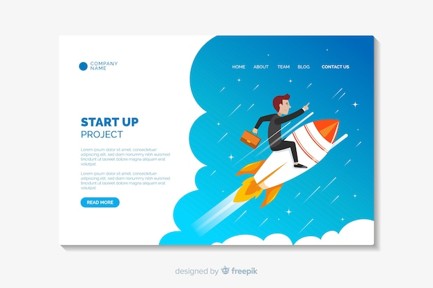 Start flache design-landingpage-vorlage Kostenlosen Vektoren