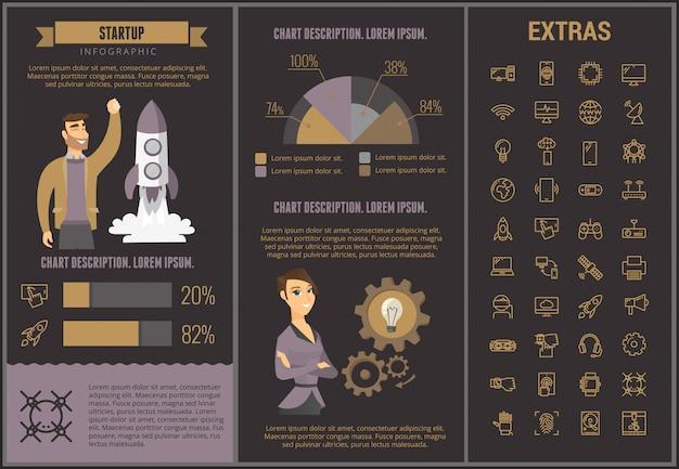 Start-infografik-vorlage, elemente und symbole Premium Vektoren