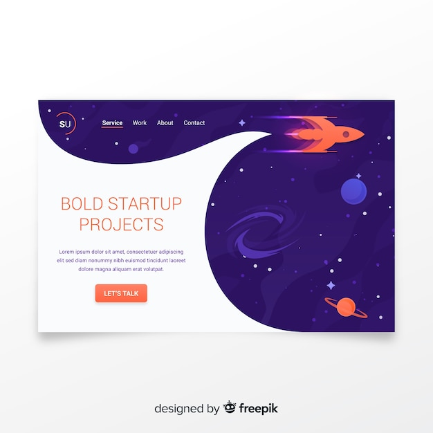 Start-landing-page mit einer rakete Kostenlosen Vektoren