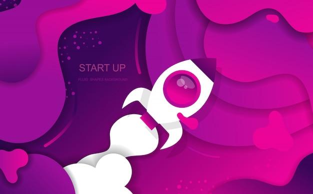 Start up fluid shapes abstrakter hintergrund für bannerpräsentationen, landingpage und template. vektor-design. Premium Vektoren