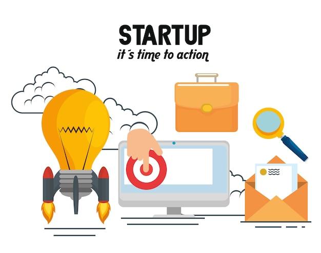 Start-up-geschäft stellen icons Premium Vektoren