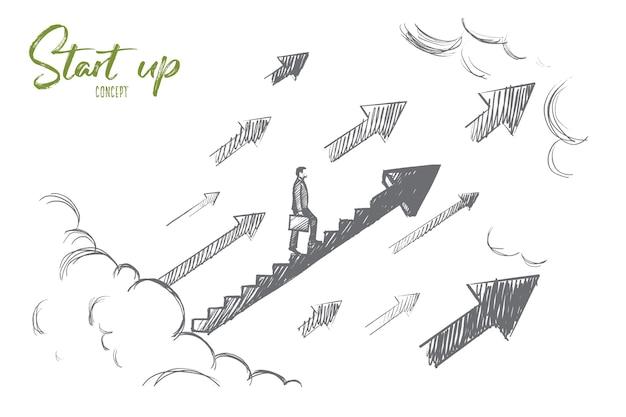 Start-up-konzept. hand gezeichneter geschäftsmann beginnen, wachstumstreppe hinaufzusteigen. erfolgreiches geschäft isolierte illustration. Premium Vektoren