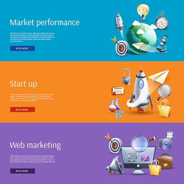 Start-up marketing flache banner gesetzt Kostenlosen Vektoren